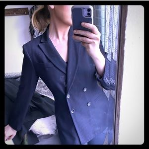 Double breasted navy pinstriped blazer suit jacket